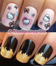 NAIL ART SET #524. GLITTER HELLO KITTY STICKERS/DECALS/TRANSFERS & GOLD LEAF