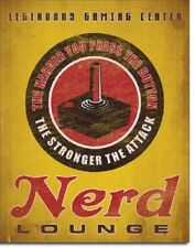Nerd Lounge Video Gaming Game Funny Humor Retro Wall Decor Metal Tin Sign