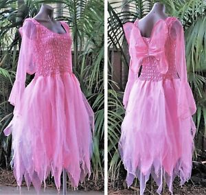Women's Fairy Dress Costume with Sleeves & Wings - CANDY PINK