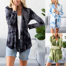 Women Casual Tie-dye Print T Shirt Cardigan Loose Tunic Long Sleeve Tops Blouse