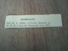 ephemera 1958 kalamazoo marriage m a miller r h j stovold croydon