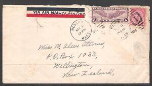 USA 1930 AIRMAIL TO NEW ZEALAND (U) *Massachusetts Bay Colony*