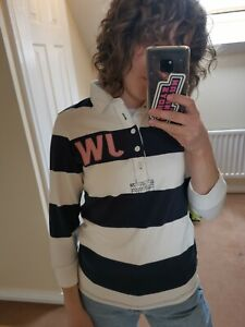 Jack Wills Blue & White Rugby Shirt Womens Size UK 10
