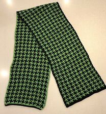 Chunky Wool Dogtooth Scarf - Green/Black