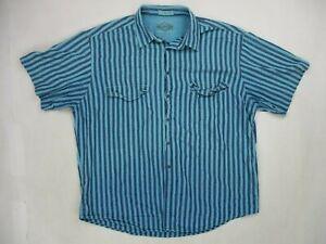 Vintage 80's Levis Mens XL Short Sleeve Button Shirt Blue Striped