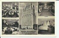 Hotel Piccadilly 45th Street Interior View Lumitone 1940 New York City Postcard