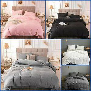 Plain Duvet Set Quilt Cover With Pillow Cases Single Double Super King Bedding