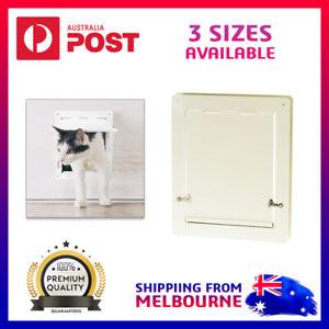 2 Way Lockable Pet Dog Cat Security Brushy Flap Door Ivory 3 Sizes Small Large