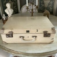 Antique Cream English Luggage Case Suitcase Herculax