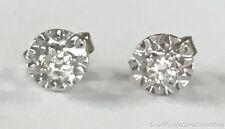 ESTATE JEWELRY LADIES 0.15 CTW DIAMOND ILLUSION STUD EARRINGS 14K YELLOW GOLD
