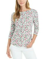 Charter Club Womens White Floral Print Boat Neck Pullover Blouse Top Size Small