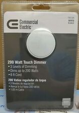 COMMERCIAL ELECTRIC 200 WATT WHITE TOUCH DIMMER 3 LEVELS 6FT CORD EE081WH-C