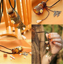 Retro Wishing Bottle Necklace Flower Butterfly Pendant Leather Sweater Necklace