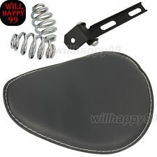 """3"""" Spring Solo Bracket Leather Seat for Harley Sportster Chopper Bobber Custom"""