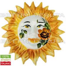 Sole ceramica interamente decorato dipinto a mano Girasoli Maiolica cm. 20