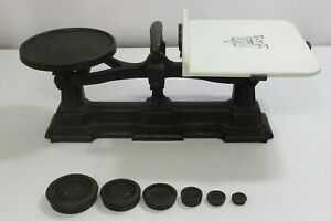 Avery's Cast Iron Scales with Ceramic Plate & 6 Imperial Round Stacking Weights