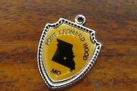 Vintage silver FORT LEONARD WOOD MISSOURI STATE TRAVEL SHIELD charm #E34