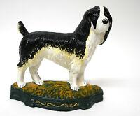 "Vtg. Cast Iron Boykin Spaniel Dog Black White Green Door Stop 11.5"" L x 10.5"" H"