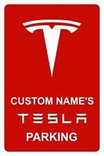 Tesla Metal Parking Sign - Custom Name