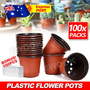 100PCS Plastic Plant Flower Pots Nursery Seedlings Pot Container & Plants Tags