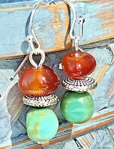 Silver, Carnelian Stone and Turquoise Picasso Bead Earrings. Boho Chic.