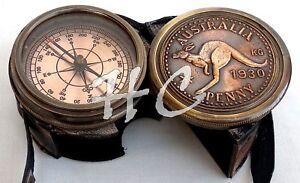 Antique AUSTRALIA KANGAROO Compass Maritime Brass PENNY Compass With Pocket Case