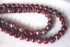20 Dark Red Multi 10mm Glass Beads #g3563 Combine Post-See Listing