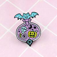 AG_ Unique Cartoon Bat Pumpkin Cart Enamel Brooch Pin Denim Badge Halloween Deco