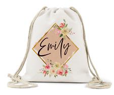 Personalised Drawstring Bag, Girls Floral Geometric Name, Nursery, P.E Bag,