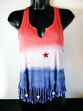 JULY 4th Red, White & Blue Tie Dye Tank Top w/ Stars and Rhinestones