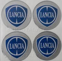 4 adesivi top resinati 3D logo LANCIA per coprimozzo copricerchi calotte Ø 57 mm