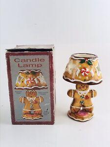 Primitive GINGERBREAD MAN Lamp Tealight Candle Holder Ceramic Star Peppermint