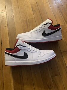 Air Jordan 1 Low White / gym red- Black 553558-118 Men's Size 11