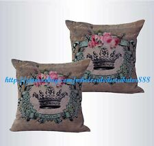 US SELLER-set of 2 sofa pillow sets shabby chic crown rose cushion cover