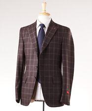 NWT $3695 ISAIA Chocolate Brown Windowpane 130s Wool Suit Slim 38 R + Hanger/Pin