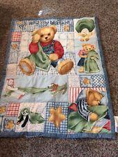 Blue Jean Teddy Bear Crib Bedding Set Bumper Pad, Comforter, Wall Decor Country