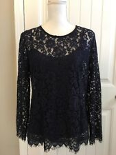 New J Crew Lace Top with Built-in Cami Navy Blue Sz 10 H2200