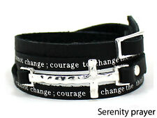 4031165 Serenity Prayer Leather Wrap Bracelet With Cross Aa Al anon 12 Step