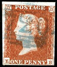 1841 PENNY RED 1d SG8 CANCELLED BY A STRIKE OF A BLUE NUMERAL WITH 4 MARGINS