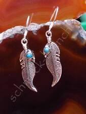 Ohrring Ohrhänger Türkis blau Feder Stein des Dezember Sterling Silber 925