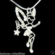 w Swarovski Crystal Fairy Tinkerbell Star ANGEL wings magic pixie Charm Necklace