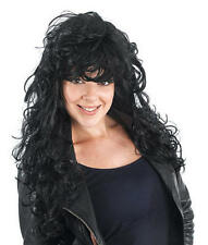 Long Black Curly Wig Rock Star Punk 80'S Cher Style Glamour Girl Fancy Dress