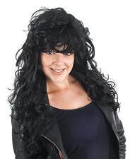 Noir long Bouclé Perruque Punk Rock Star 80 Cher Style Glamour Fille robe de fantaisie