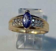 14K GOLD WOMAN'S LADIES RING W/ 1 TANZANITE AND 16 DIAMONDS, SIZE 6