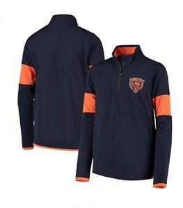 Chicago Bears Youth Boys Yard Line Quarter Zip Jacket - Navy