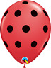 "10 pc - 11"" Qualatex Big Polka Dot Red with Black Latex Balloon Party Decoration"