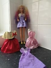 Vintage Barbie Doll Long Rainbow Hair With X 4 Dress outfit shoes clothes bundle
