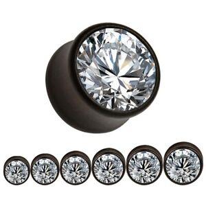 CLEAR GEM BLACK WALNUT Ear Plugs Piercing Jewellery Stretchers Timber PL201