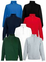 Fruit Of The Loom Mens Classic Zip Neck Sweat Cadet collar Sweatshirts