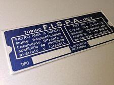 Air BOX FILTRO TARGA FERRARI 330GT Rettangolo per restauro vintage FISPA
